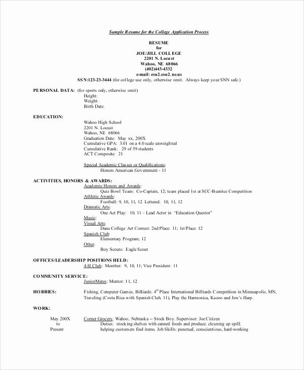 College Admission Resume Template Unique Resume College Admission