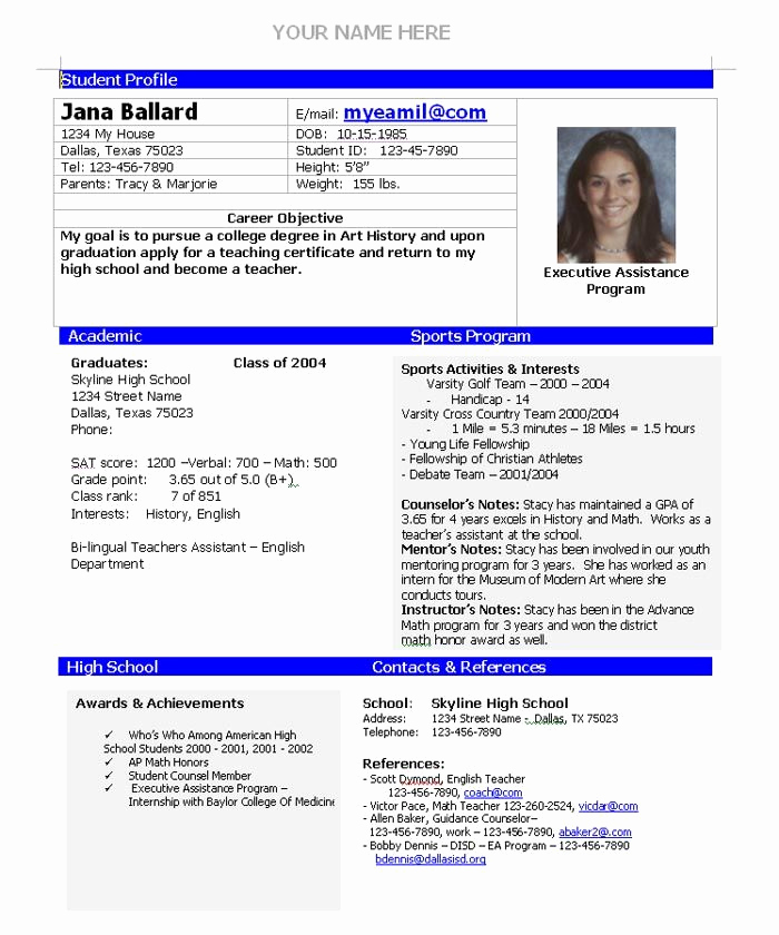 College Admissions Resume Templates Beautiful College Admission Resume Template