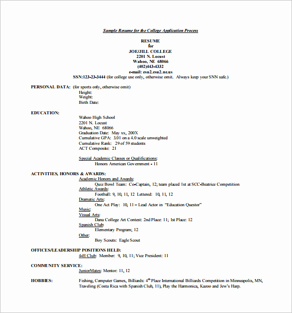College Admissions Resume Templates Best Of 12 College Resume Templates Pdf Doc