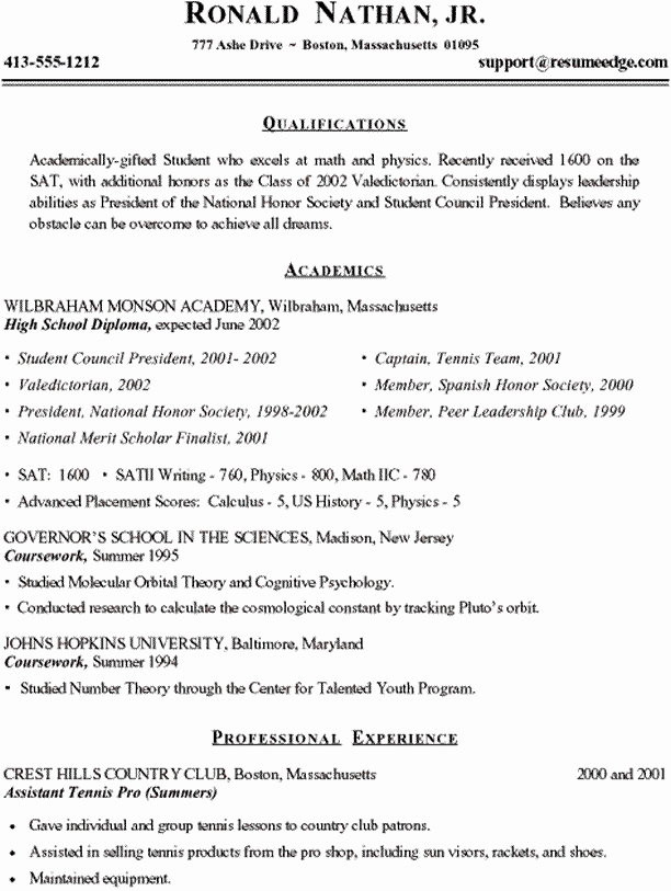 College Admissions Resume Templates Best Of High School Resume Template for College Admissions