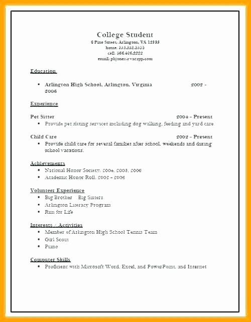 College Admissions Resume Templates Best Of Sample College Resume Template Applicant Resume Sample