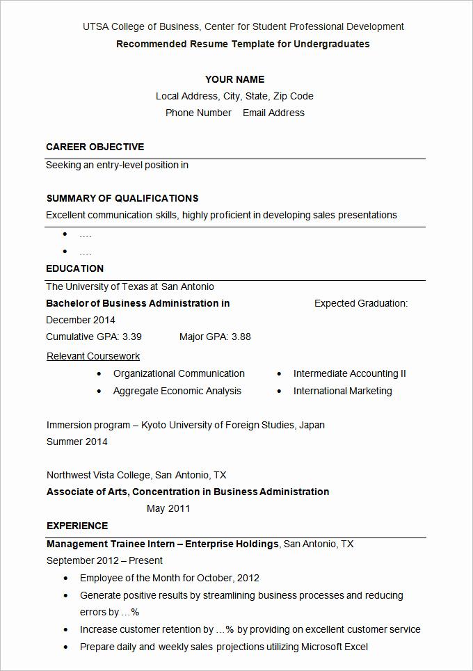 College Admissions Resume Templates Elegant 36 Student Resume Templates Pdf Doc