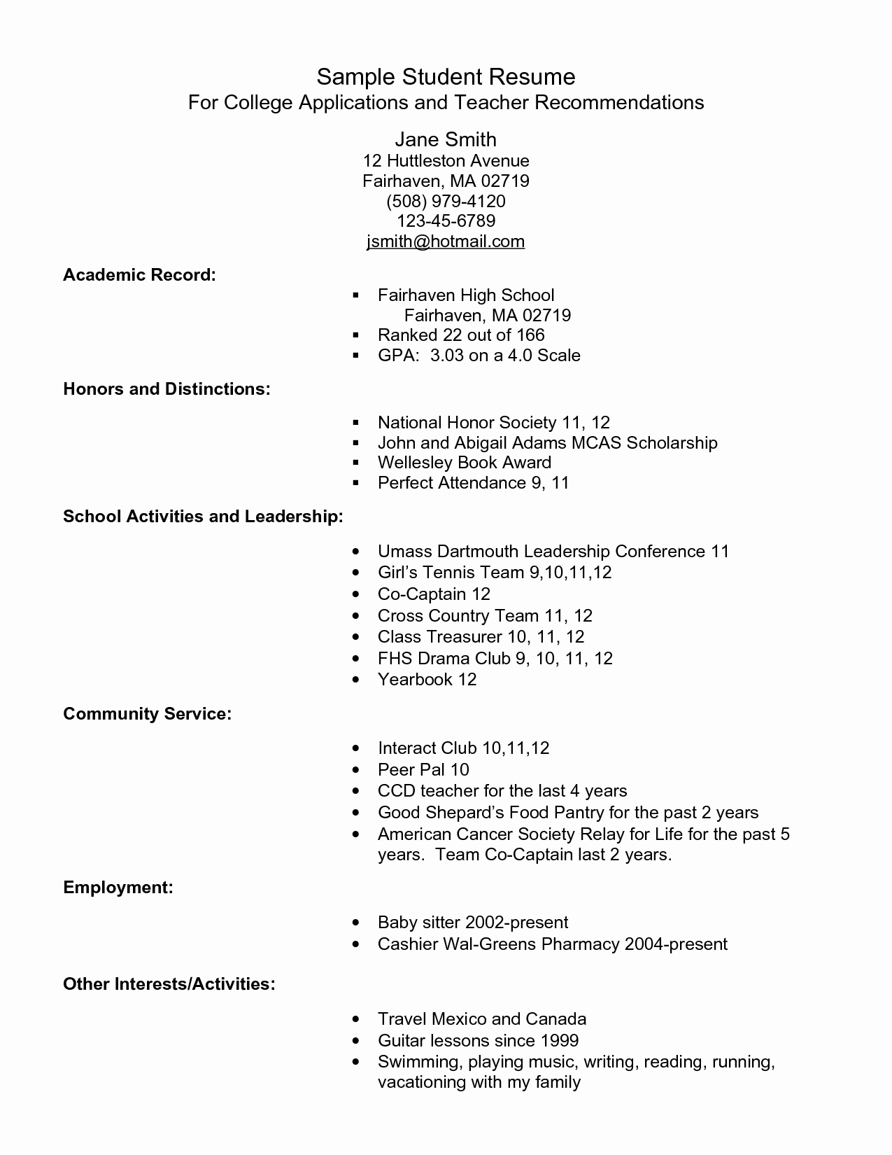 College Admissions Resume Templates Inspirational Example Resume for High School Students for College