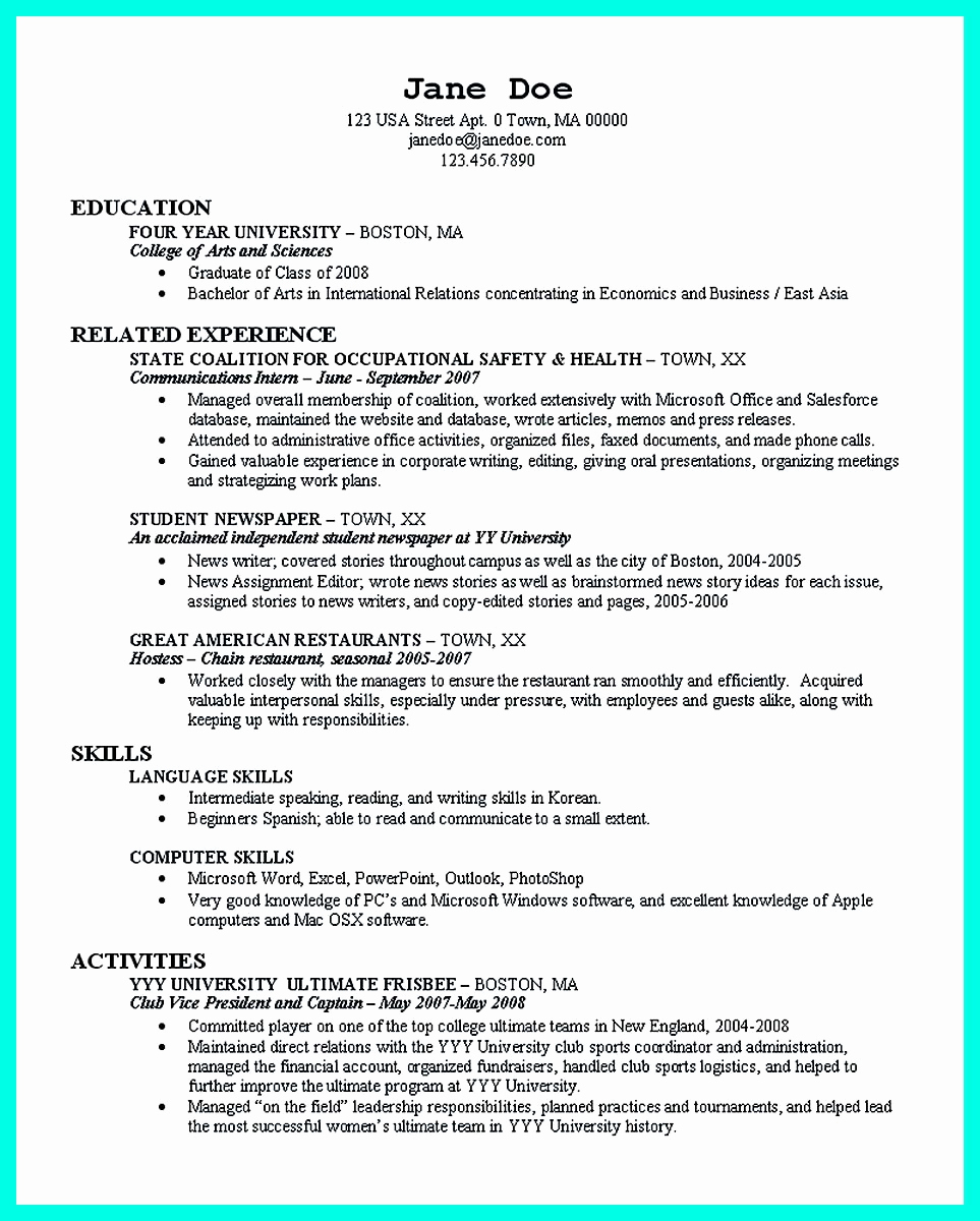College Admissions Resume Templates Inspirational the Perfect College Resume Template to Get A Job