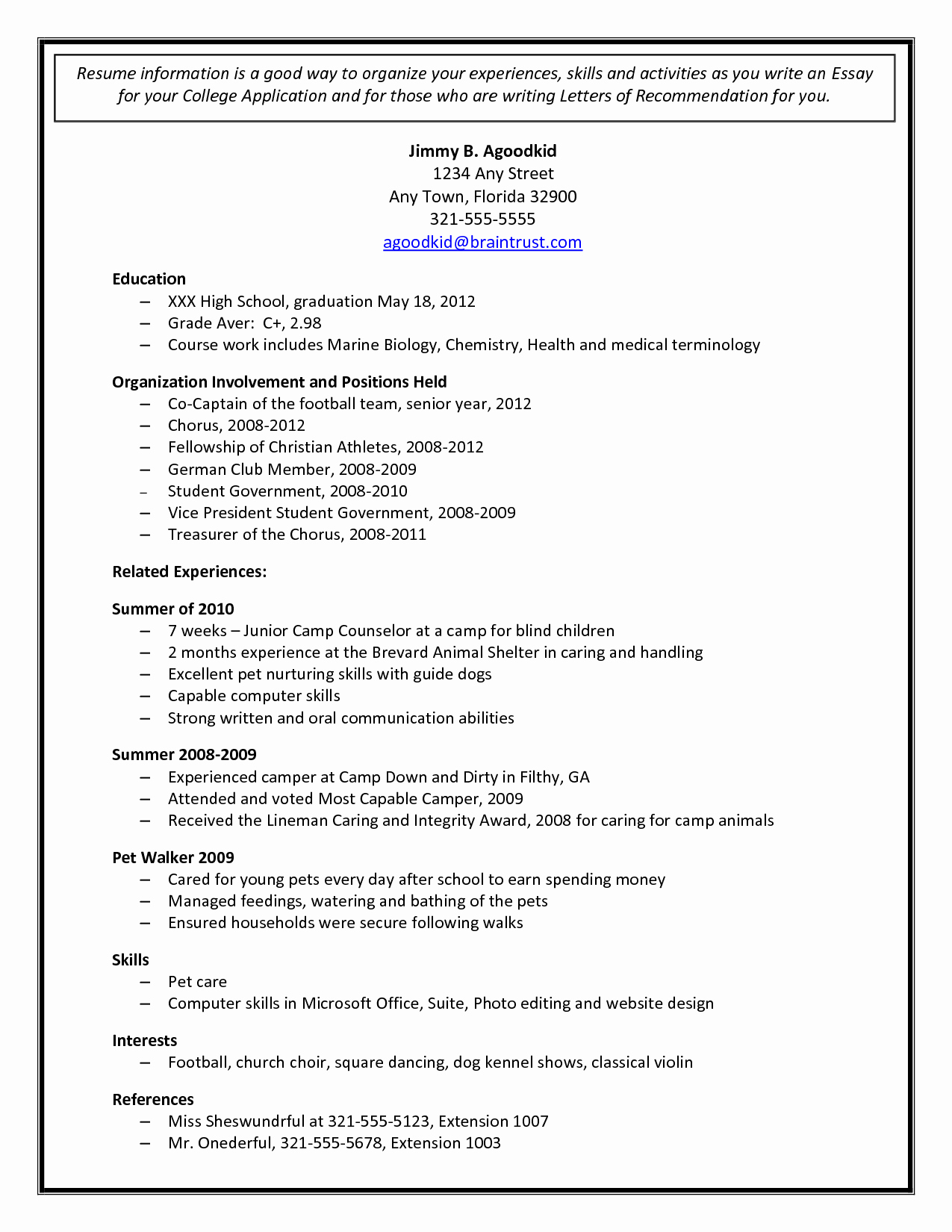 College Admissions Resume Templates Lovely College Admission Resume Template