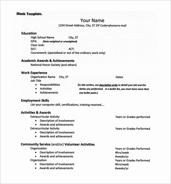 College Admissions Resume Templates New 12 College Resume Templates Pdf Doc