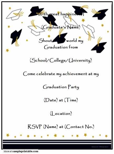 College Graduation Invitations Templates Beautiful Graduation Party Invitation Templates Free Printable