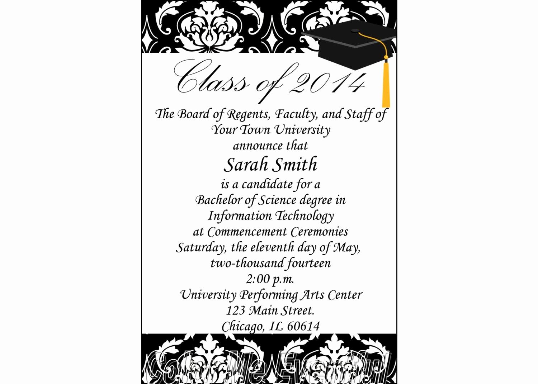 College Graduation Invitations Templates Elegant formal Graduation Invitation Template