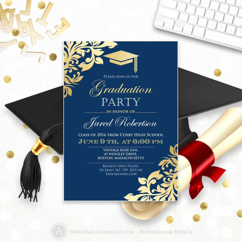 College Graduation Invitations Templates New Graduation Announcement Printable Navy Gold College Graduation