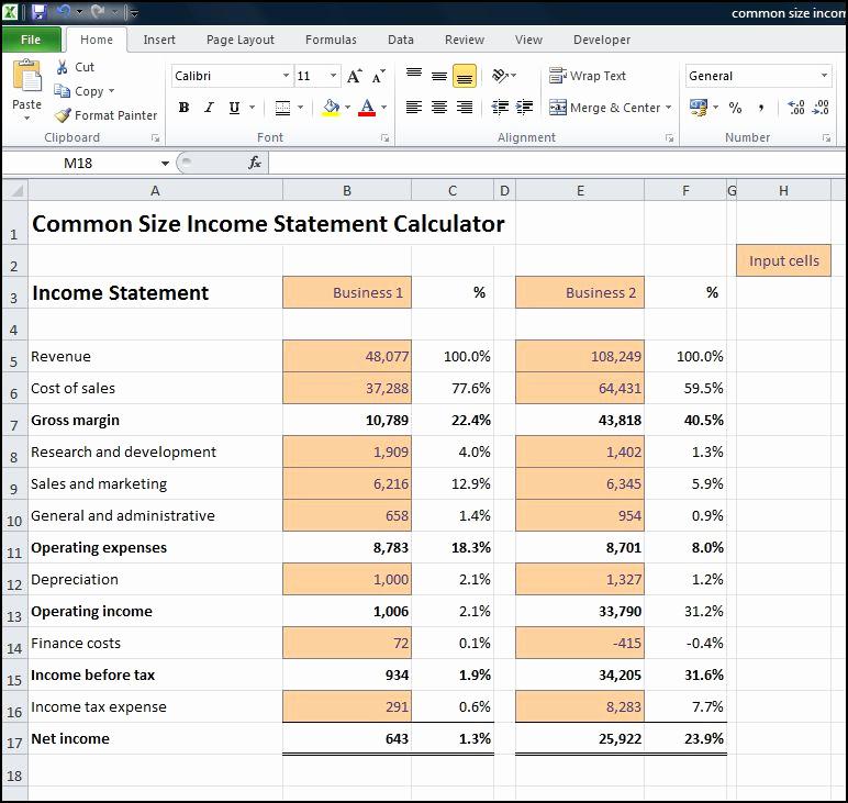 Common Size Income Statement Template Lovely Mon Size In E Statement Calculator