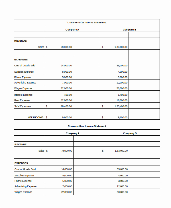Common Size Income Statement Template Unique Excel In E Statement 7 Free Excel Documents Download