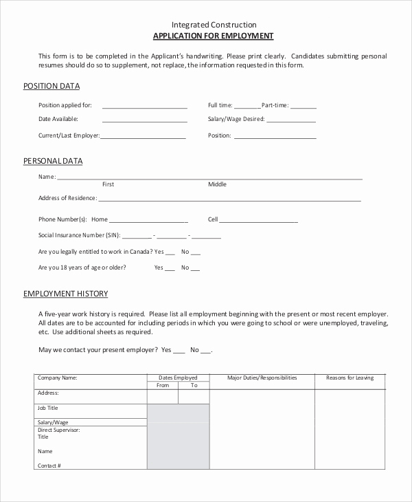 Construction Job Application Template Awesome 9 Sample Employment Applications