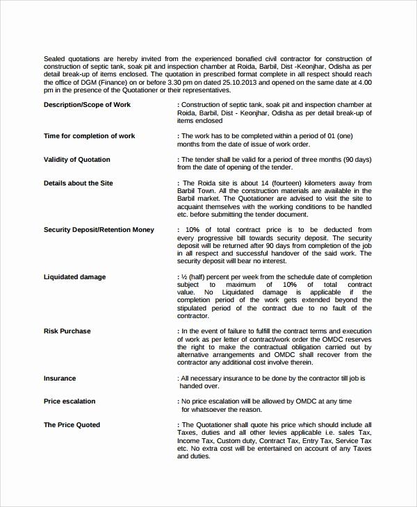 Construction Job Application Template Fresh 7 Sample Job Quote Templates