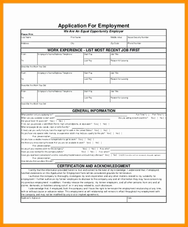 Construction Job Application Template New Employment Application Template – Ddmoon