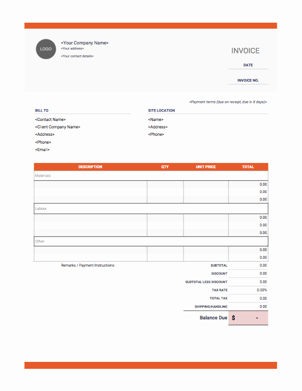 Contractor Invoice Template Word Awesome Contractor Invoices Onlineblueprintprinting