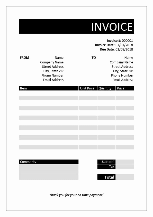 Contractor Invoice Template Word Awesome Free Invoice Templates
