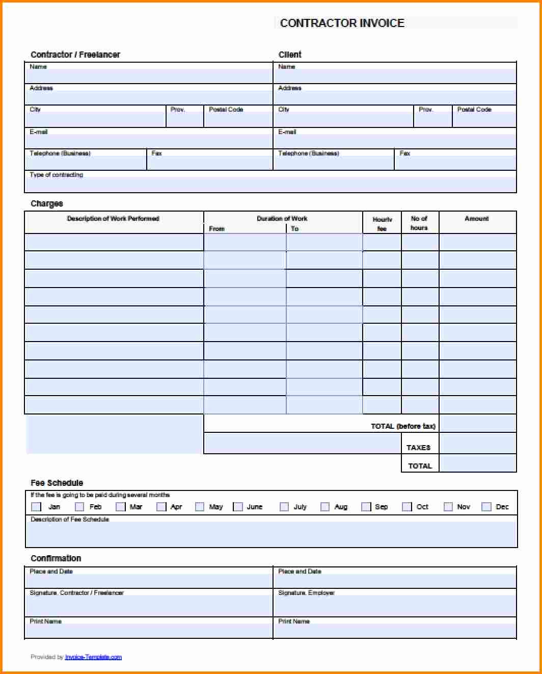 Contractor Invoice Template Word Best Of 4 Contractor Bill format