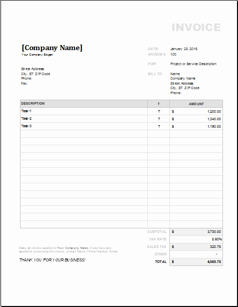Contractor Invoice Template Word Fresh 4 Customizable Invoice Templates for Excel