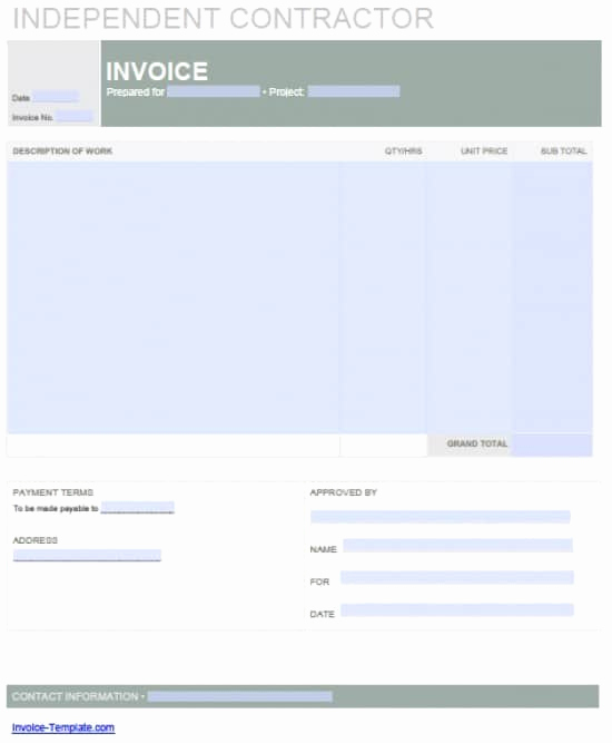 Contractor Invoice Template Word Luxury Independent Contractor Invoice Design