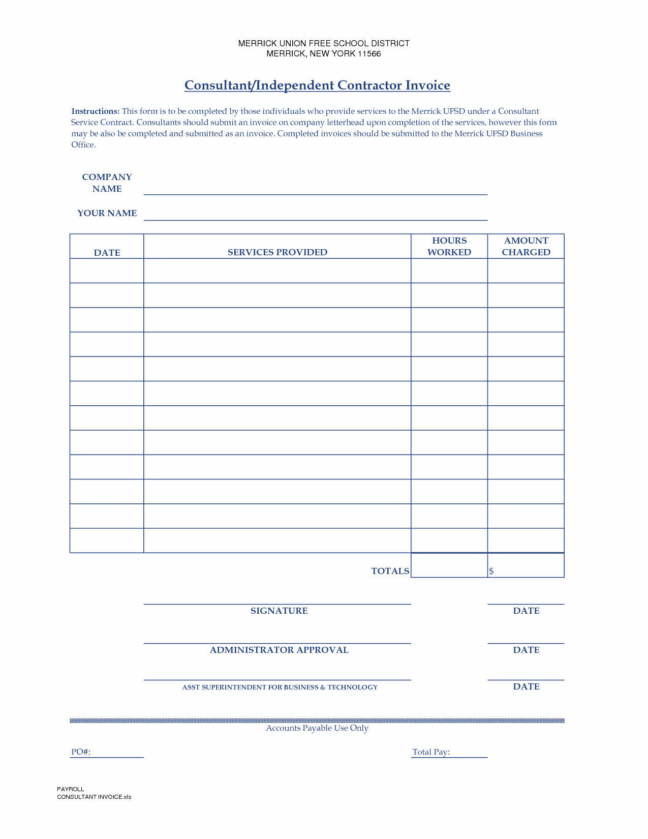 Contractor Invoice Template Word Luxury Independent Contractor Invoice Template