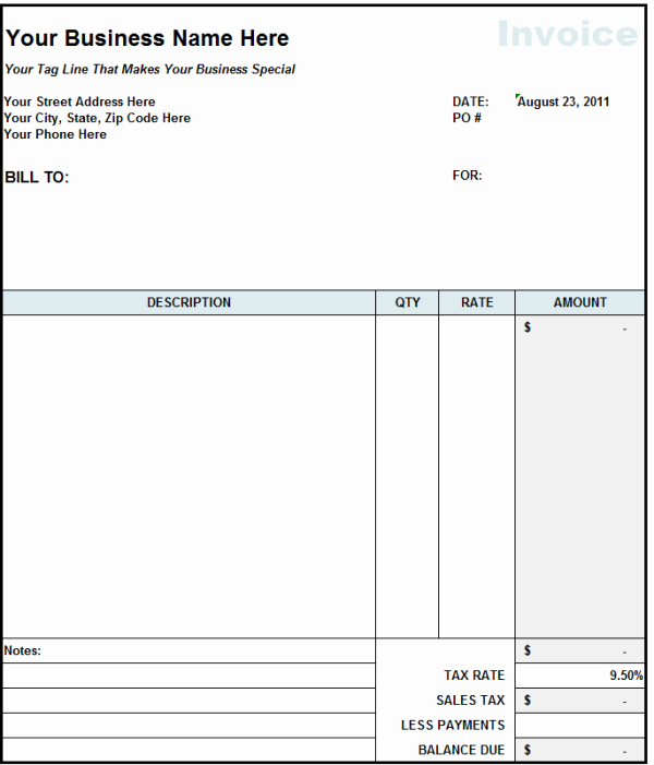 Contractor Invoice Template Word New Subcontractor Invoice Template Excel