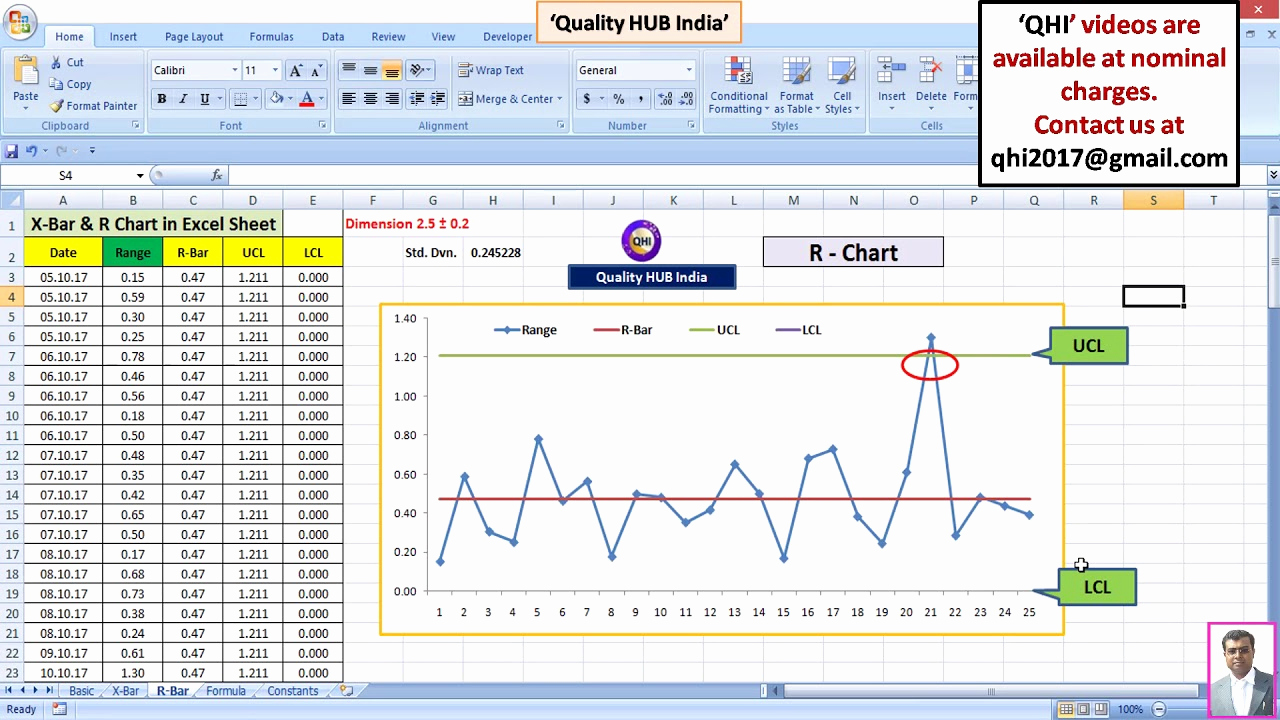 Control Chart Excel Template New Create Control Charts X Bar & R Chart In Excel