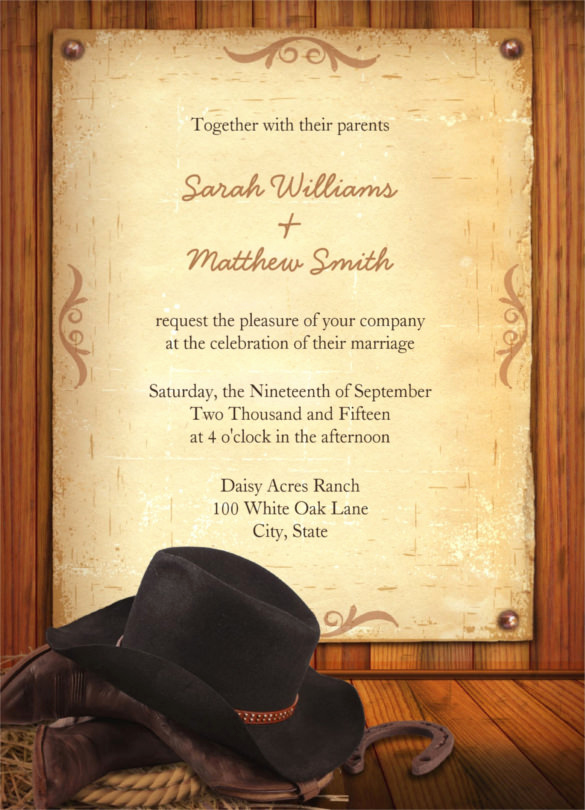 Cowboy Invitations Template Free Awesome 28 Western Wedding Invitation Templates – Free Sample