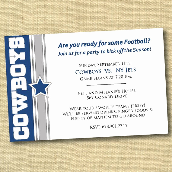 Cowboy Invitations Template Free Awesome Items Similar to Dallas Cowboys Football Party Invitation
