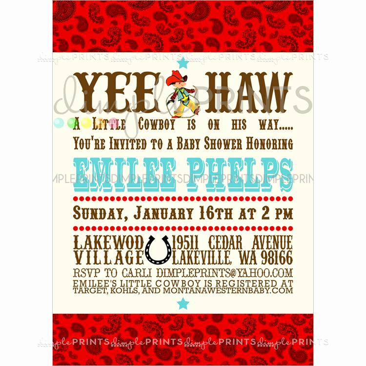 Cowboy Invitations Template Free Awesome Vintage Cowboy Printable Baby Shower Invitation Dimple