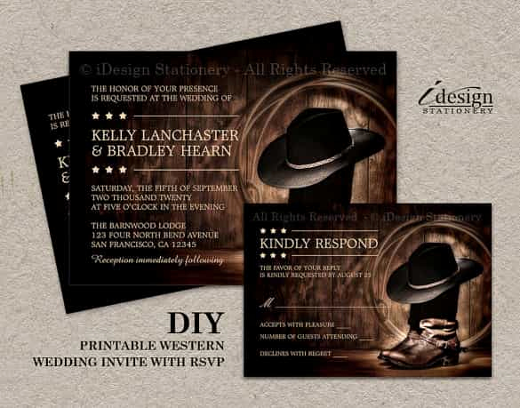 Cowboy Invitations Template Free Beautiful 85 Wedding Invitation Templates Psd Ai