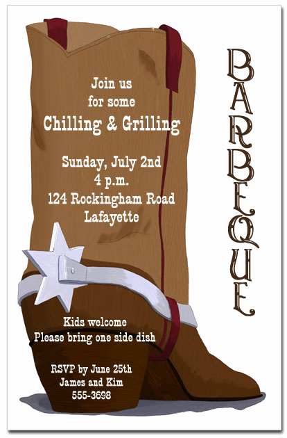 Cowboy Invitations Template Free Elegant Brown Cowboy Boot Party Invitations Barbeque Invitations
