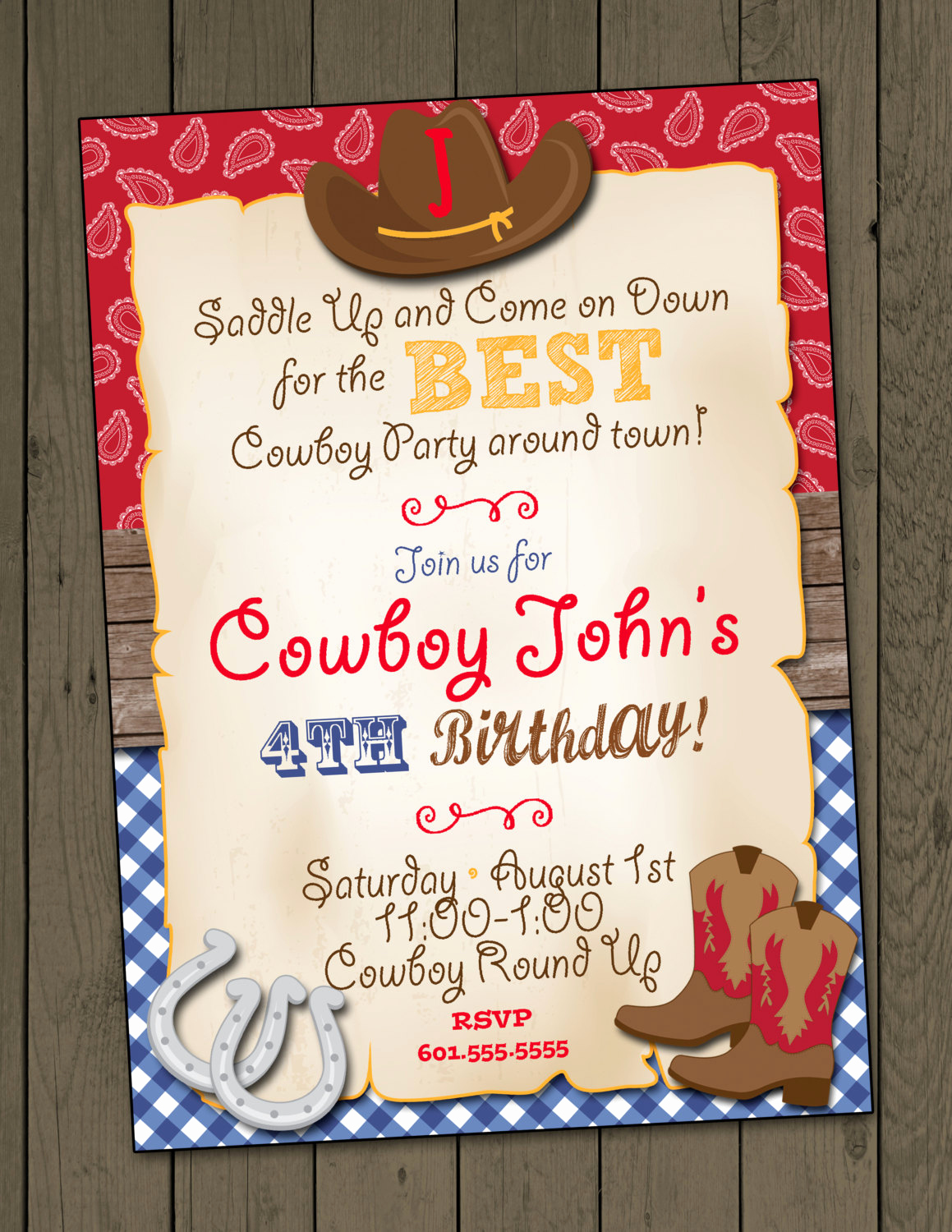 Cowboy Invitations Template Free Elegant Cowboy Birthday Party Invitation Cowboy Invitation Digital