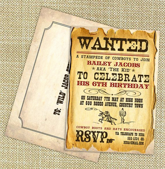 Cowboy Invitations Template Free Fresh Wild West Cowboy Boys Party Invitation Diy Printable by