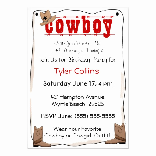"Cowboy Invitations Template Free Inspirational Cowboy Birthday Invitations 5"" X 7"" Invitation Card"