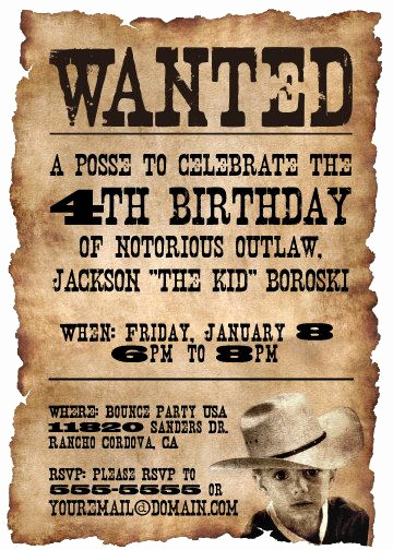 Cowboy Invitations Template Free Inspirational Printable Wanted Poster Western themed Birthday Party by