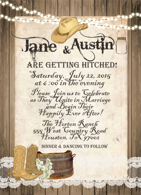 Cowboy Invitations Template Free Lovely 28 Western Wedding Invitation Templates – Free Sample