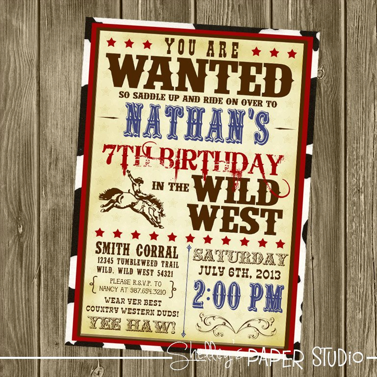 Cowboy Invitations Template Free Lovely Cowboy Birthday Invitation