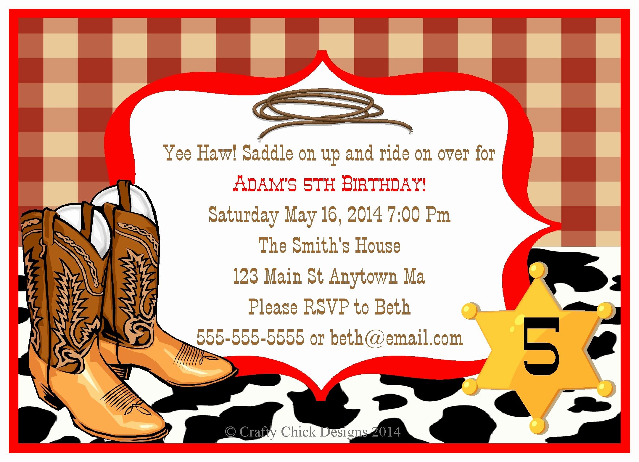 Cowboy Invitations Template Free Luxury Cowboy Birthday Invitation Template Templates Resume