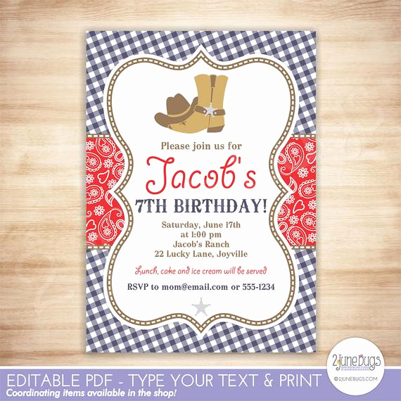Cowboy Invitations Template Free Luxury Cowboy Birthday Party Invitation Template Red Blue Paisley