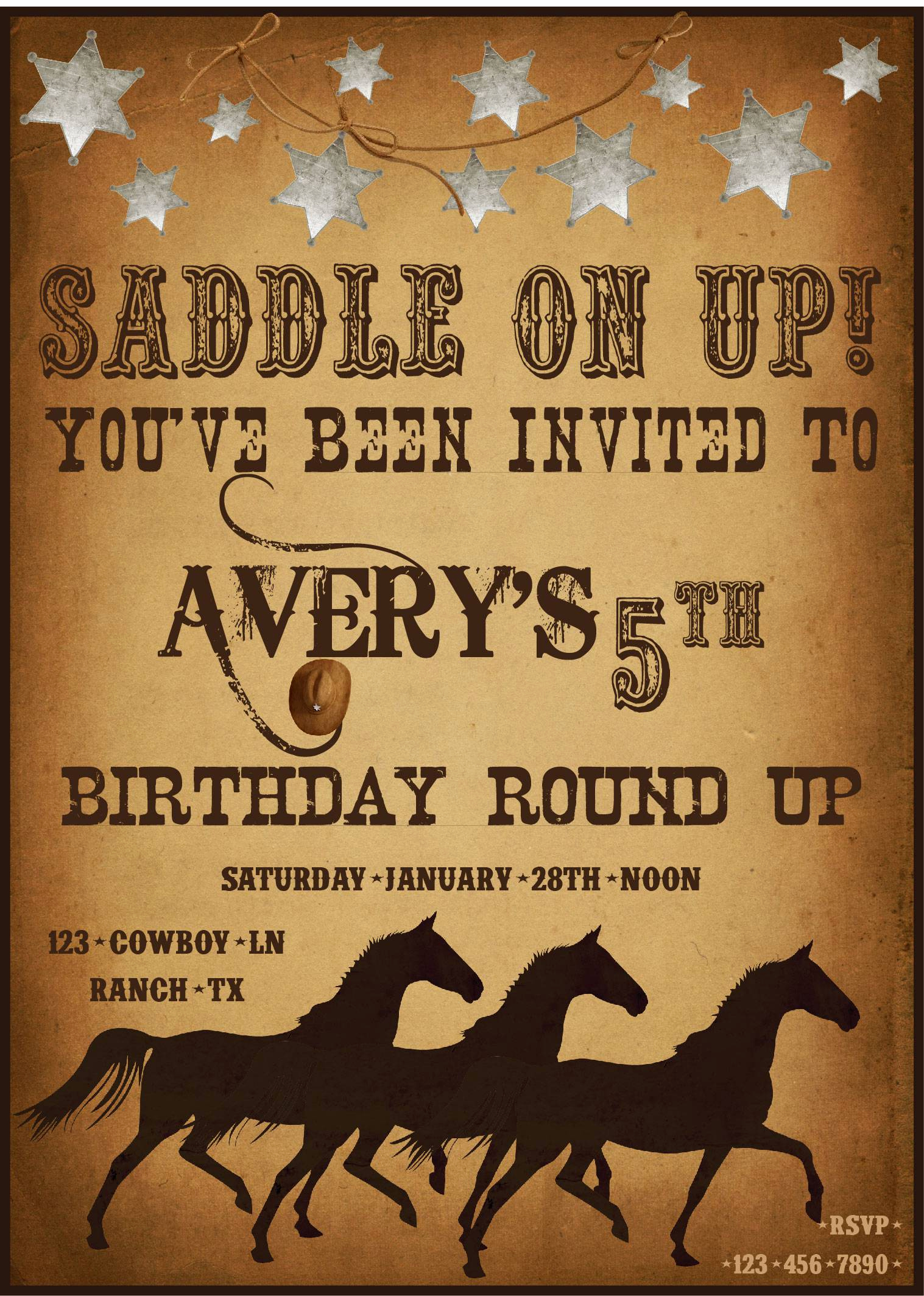 Cowboy Invitations Template Free New Western Party Invitations