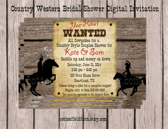 Cowboy Invitations Template Free Unique 28 Western Wedding Invitation Templates – Free Sample