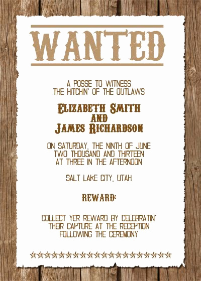 Cowboy Invitations Template Free Unique Wanted Western Wedding Invitation Free Template