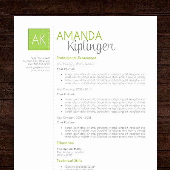 Creative Resume Template Word Elegant Resume Template Cv Template for Word Mac or Pc