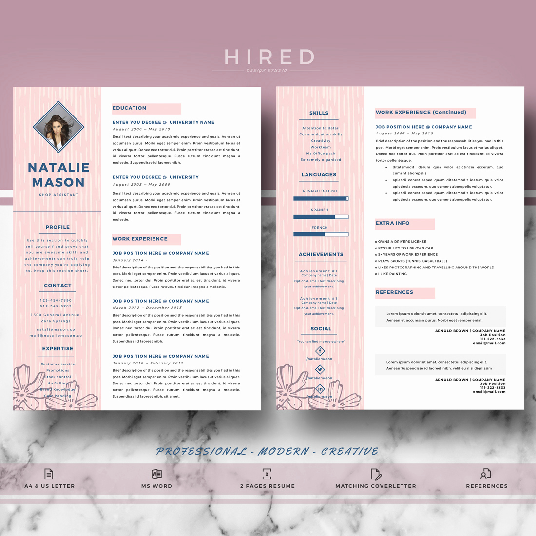 Creative Resume Template Word Fresh Creative Resume Template Archives Hired Design Studio