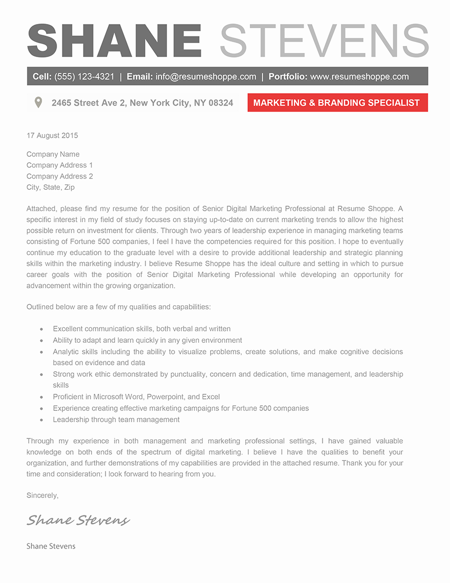 Creative Resume Template Word Lovely the Shane Cover Letter Creative Resume Template