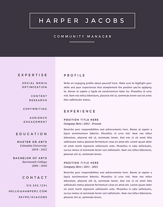 Creative Resume Template Word Unique Free Creative Microsoft Word Resume Templates