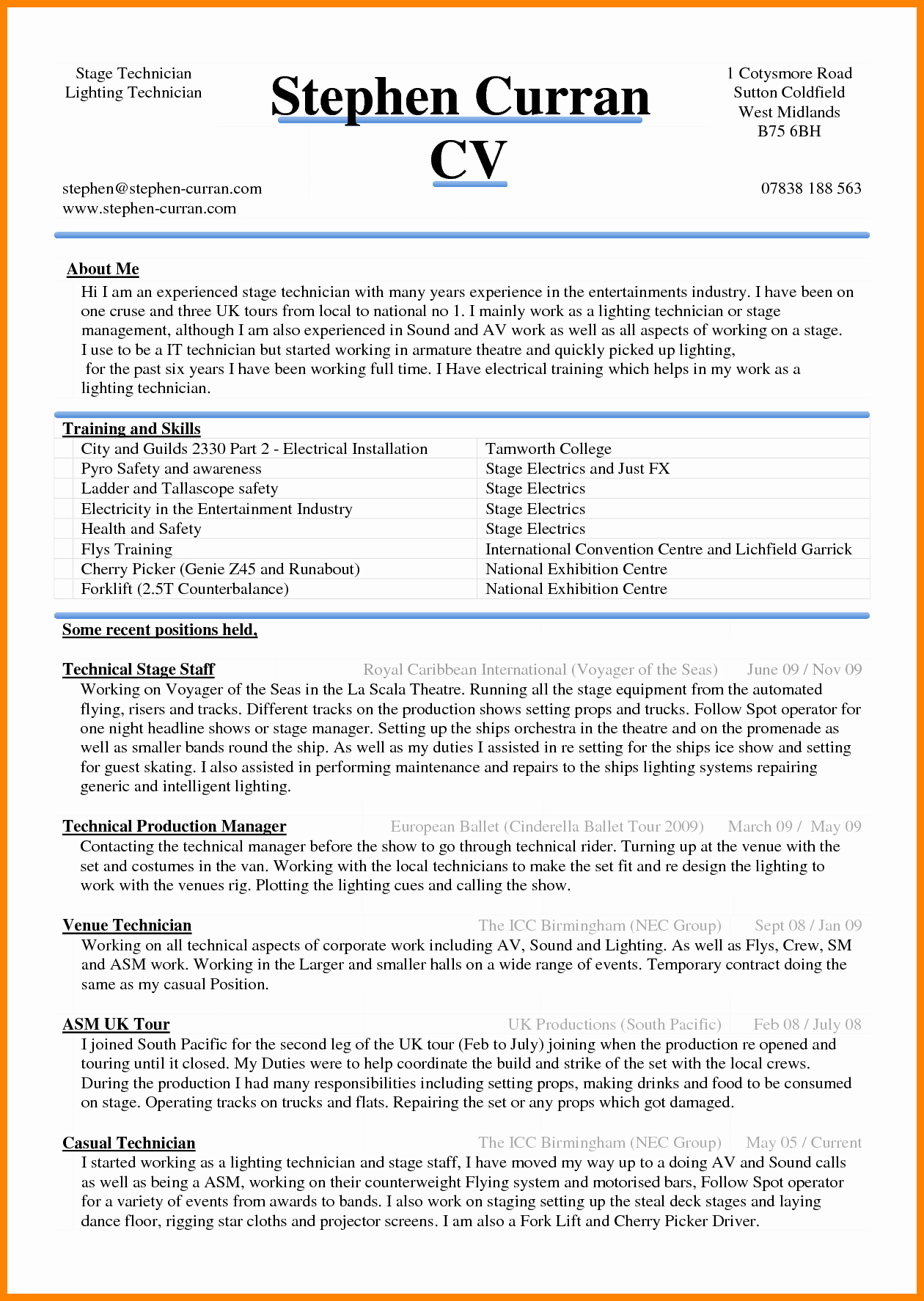 Curriculum Vitae Template Microsoft Word Awesome 6 Curriculum Vitae In Ms Word