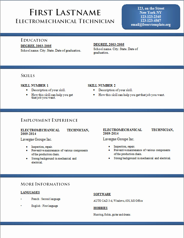 Curriculum Vitae Template Microsoft Word Beautiful Free Cv Resume Templates 170 to 176 – Free Cv Template