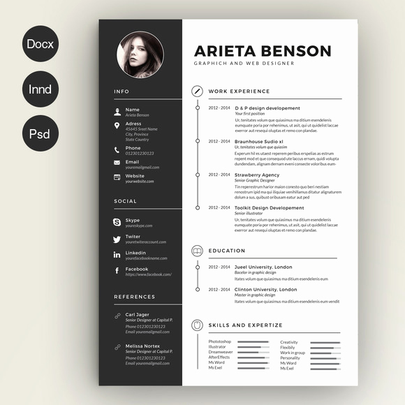 Curriculum Vitae Template Microsoft Word Inspirational 28 Minimal & Creative Resume Templates Psd Word & Ai
