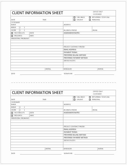 Customer Information Sheet Template Best Of Business format Client Information Sheet